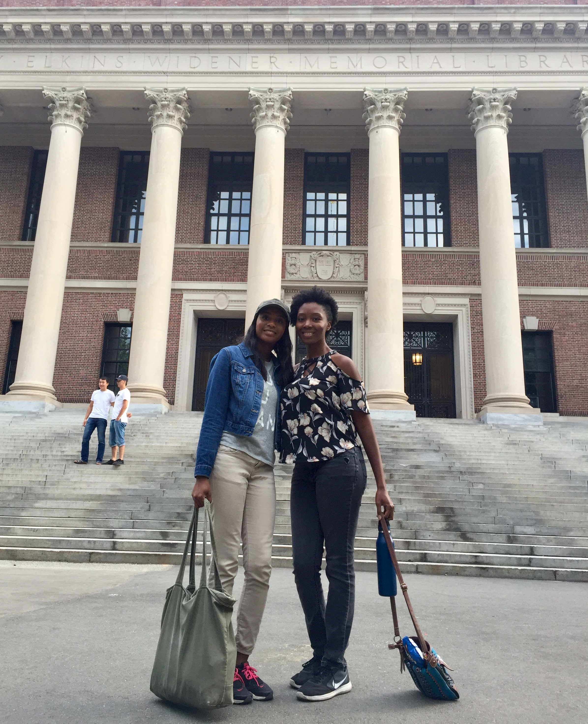 Anyssa Roberts Left And Hillary McLean Right Outside Of Harvard Library On